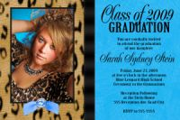 Turquoise Leopard High School Graduation Invitation Card
