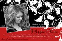 Red Black Ivy Swirl Graduation Announcement Invitation