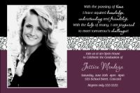 Burgundy Black Scroll Graduation Photo Card Invitation