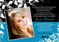 Black White Turquoise Ivy High School Graduation Card Invitation