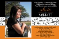 Orange Black Scroll High School Graduation Card Invitation