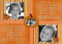 Combined Pumpkin Birthday Invitation Halloween Photo Card