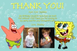 Spongebob & Patrick Bubbles Thank You Card