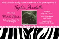 Zebra & Pink Pearl Baby Shower Invitations