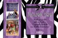 Purple Black White Zebra Thank You Card