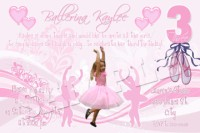 Pink Swirl Ballerina Birthday Invitations