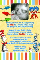 Dr Seuss Vertical Baby Shower Invitation