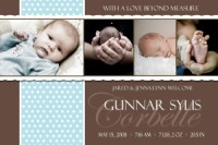 Blue Chocolate Polka dot Boy Birth Announcement