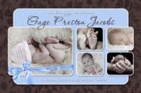 Graphite Blue Baby Boy Birth Announcement