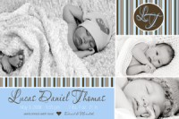 Blue & Chocolate Brown Monogram Baby Announcement