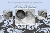 Blue & Gray Paisley Boy Birth Announcement