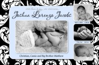 Baby Blue & Black Leafy Boy Birth Announcement