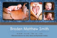 Trendy Brown Polka dot Ribbon Birth Announcement