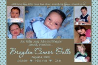 6-photo collage Brown & Teal Birth Announcement
