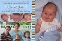 Collage Chocolate Brown & Blue Stripes Birth Announcement
