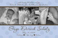 Blue & Brown Modern Dots Boy Birth Announcement