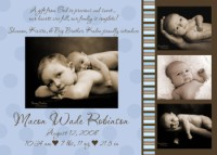 Blue & Brown Stripes & Circles Birth Announcement