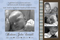 Blue & Brown Stripes & Dots Birth Announcement