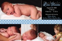 Black & Blue Ribbon Birth Announcement