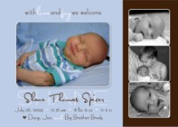 Modern Black Blue Boy Birth Announcement