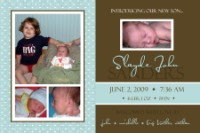 Teal & Brown Block Birth Announcement