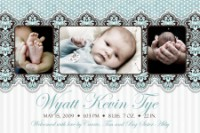White Turquiose Chocolate Brown Damask Birth Announcement