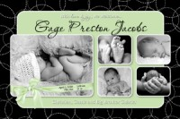 Green Black Bubbles Boy Birth Announcement