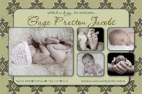 Olive Green Trendy Birth Announcement
