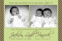 Sage Brown Polka dot Birth Announcement