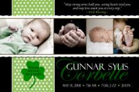 Shamrock Polka dot Irish Birth Announcement