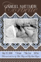 Vertical Paisly Damask Boy Birth Announcement