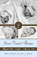 Monogram Baby Boy Vertical Birth Announcement