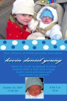 Bubbly Blue Vertical Boy Birth Announcement