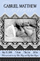 Vertical Paisly Damask Polka dot Boy Birth Announcement
