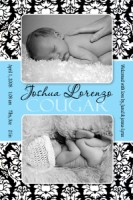Damask & Turquoise Baby Boy Birth Announcement