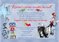 Dr Seuss Cat in the Hat Horton Fish Baby Shower Invitation with Ultrasound Photo