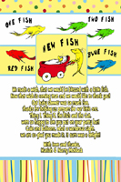 Dr Seuss One Two New Fish Thank You Card
