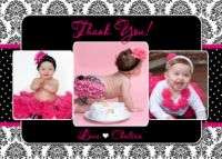 Hot Pink Black Damask Thank You Card