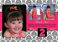 Damask & hot pink photo Birthday Invitation