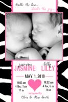 Zebra Pink Twins Multiples Vertical Birth Announcement