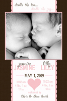 With Love Scalloped Pink Brown Birth Announcement