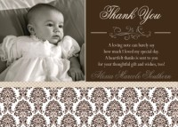 Neutral Brown Damask Baptism Communion Christening Invitation or Thank You Card