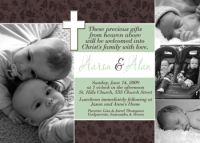Brown Mint Green Twin Unisex Baptism Invitation