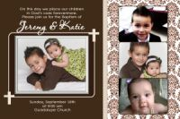 Brown Damask Unisex Baptism Invitation or Thank You Card