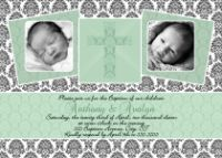 Mint Green Damask Unisex Baptism Invitation or Thank You Card